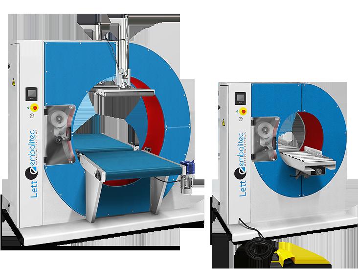 Modelo automático y semiautomático de embaladoras circulares con corona giratoria de la serie Lett para envolver con film estirable.